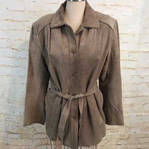 Orvis suede jacket M belted euc lined button up